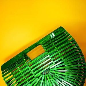 MOTHER-OF-PEARL-LOOK GREEN TOTE ARK BAG